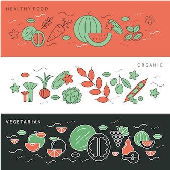 Colección de banners de verduras