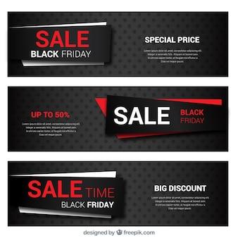 Colección de banners del viernes negro con detalles en rojo