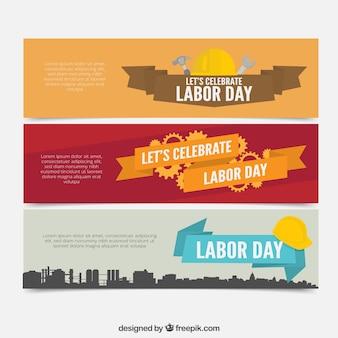 Colección de banners estilosos del día del trabajo