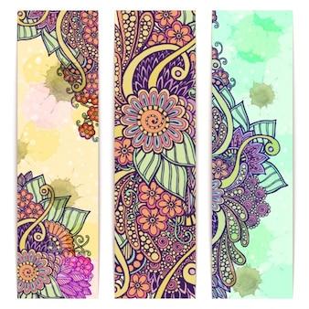Colección de banners florales