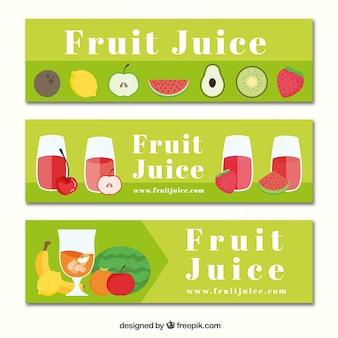Colección de banners verdes con zumos de fruta