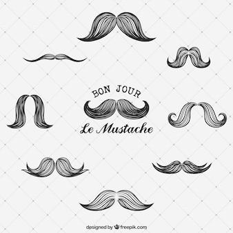 Colección de bigotes dibujados a mano
