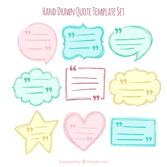 Colección de bocadillos de diálogo de citas dibujadas a mano