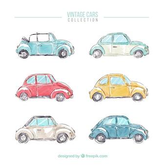 Colección de bocetos de coches retro de acuarela