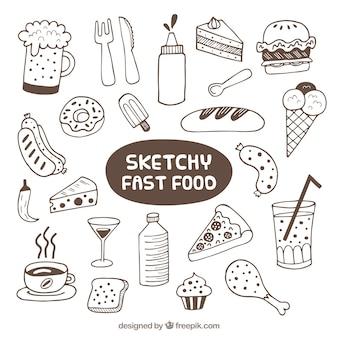 Colección de bocetos de comida rápida