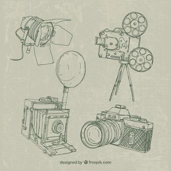 Colección de bocetos de equipamiento de fotografía