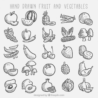Colección de bocetos de fruta y verdura