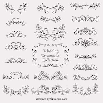 Colección de bocetos de ornamentos de boda