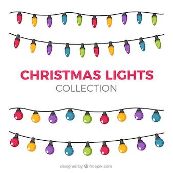 Colección de bonitas bombillas de colores navideñas