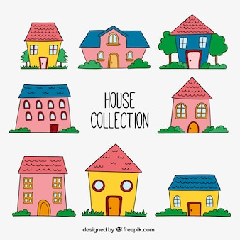 Colección de bonitas casas dibujadas a mano