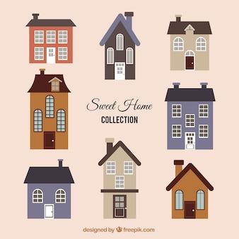 Colección de bonitas casas vintage en diseño plano