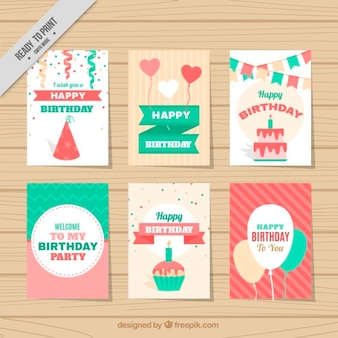 Colección de bonitas tarjetas de cumpleaños