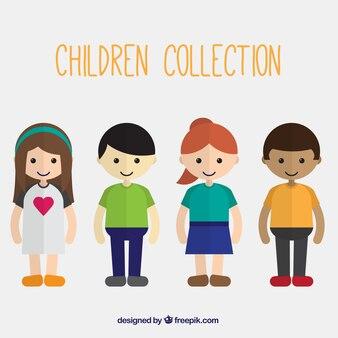 Colección de bonitos niños en diseño plano