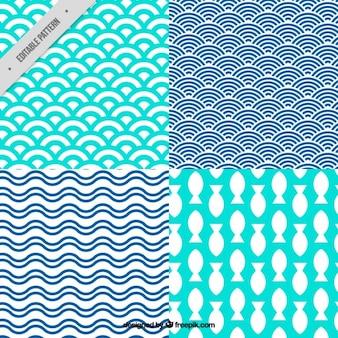 Colección de bonitos patrones de verano con formas abstractas