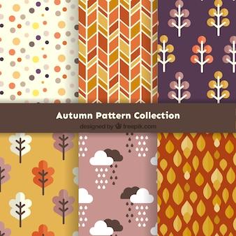 Colección de bonitos patrones otoñales