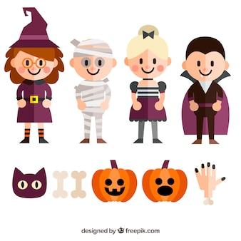 Colección de bonitos personajes de halloween con accesorios