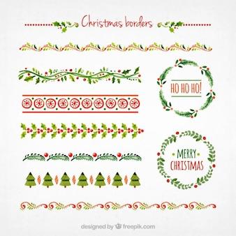 Colección de bordes de navidad