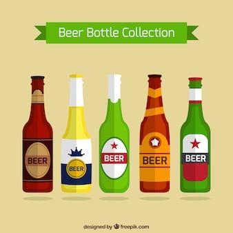 Colección de botellas de cerveza en diseño plano