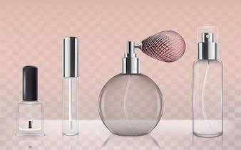 Colección de botellas vacías de vidrio cosmético en estilo realista