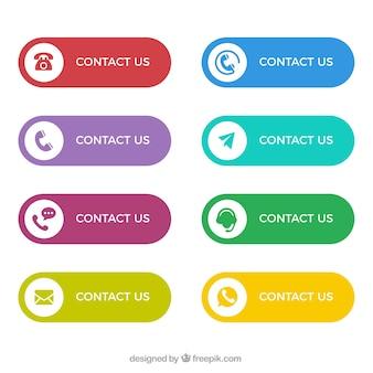 Colección de botones de colores de contacto