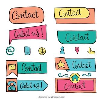 Colección de botones de contacto dibujados a mano
