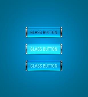 Colección de botones de cristal azul