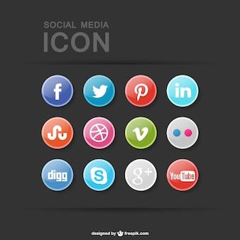 Colección de botones de iconos de redes sociales