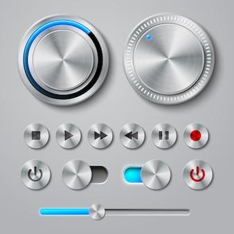 Colección de botones de interfaz de metal