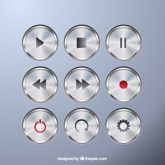 Colección de botones metálicos