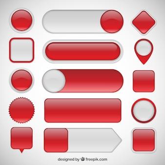 Colección de botones rojos