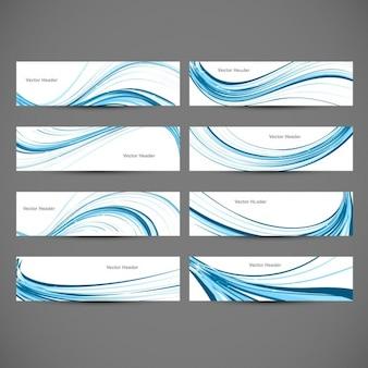 Colección de Cabeceras con ondas azules