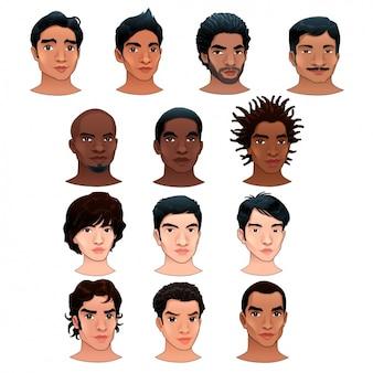 Colección de cabezas de hombres