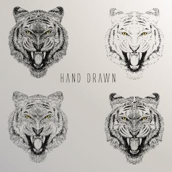 Colección de cabezas de tigre dibujadas a mano