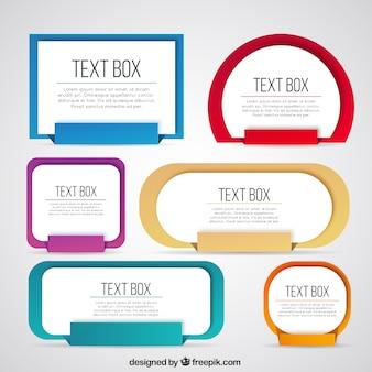 Colección de cajas de texto de colores