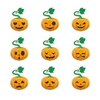 Colección de calabazas de halloween