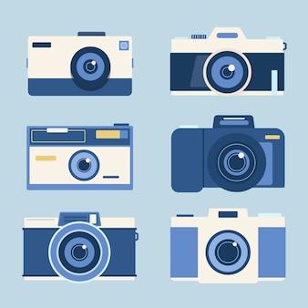Colección de cámaras de fotos en diseño plano