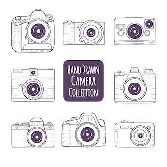 Colección de cámaras dibujadas a mano