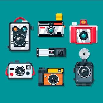 Colección de cámaras vintage de diseño plano