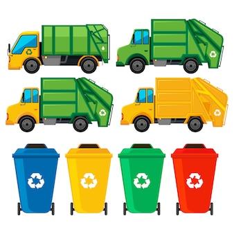Colección de camiones de basura y contenedores