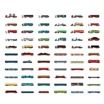 Colección de camiones y vagones de tren