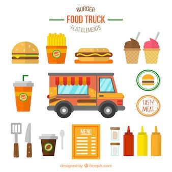 Colección de camionetas de hamburguesa