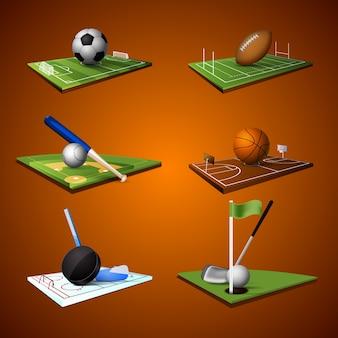 Colección de campos de deportes