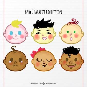 Colección de caras de bebé dibujadas a mano