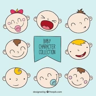 Colección de caras de bebés redondas