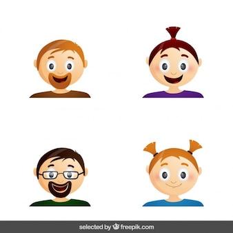 Colección de caras de hombres y niñas