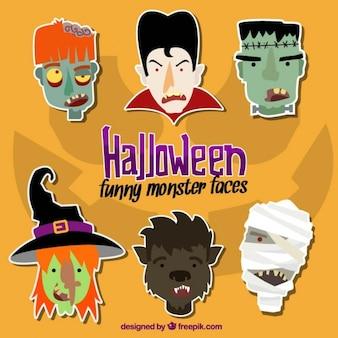 Colección de caras de personajes de halloween