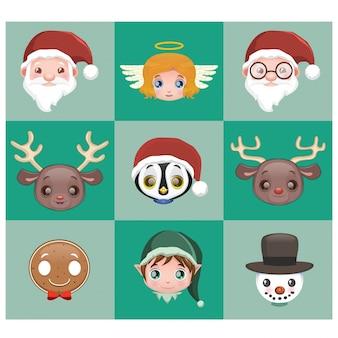 Colección de caras de personajes de navidad