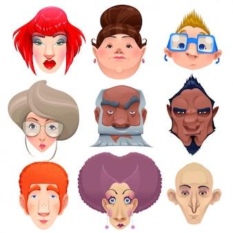 Colección de caras humanas