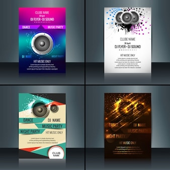 Colección de carteles de fiestas con música