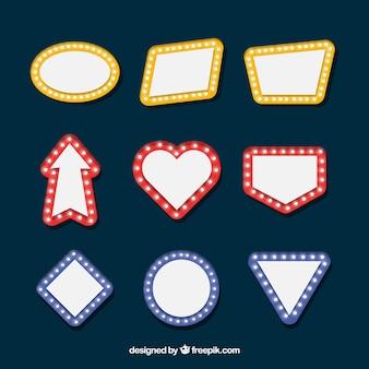 Colección de carteles luminosos en diseño plano